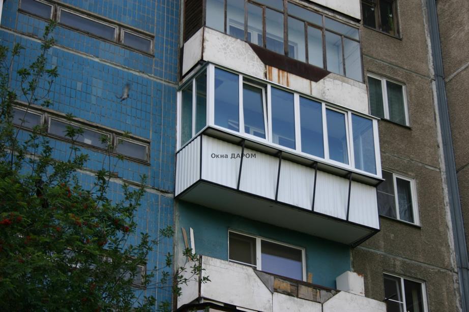Остекление балкона с выносом ул. болейко 5.